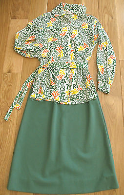 Girl Scout OFFICIAL UNIFORM 1970s Adult Size=14 Psychedelic Blouse Tie Skirt