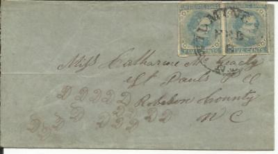 Confederate States Sc#7(pair) Wilmington NC, wear at top to St Paul NC