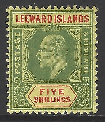 LEEWARD ISLANDS, 1910 5/- green & red top value, mint MLH, SG#45