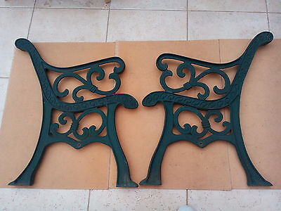 pair of cast iron metal garden bench ends  only