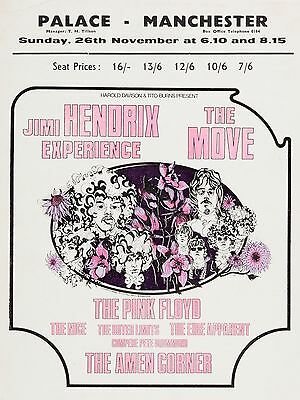 """Jimi Hendrix / The Move Palace Manchester 16"""" x 12"""" Photo Repro Concert Poster"""
