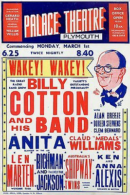 """Billy Cotton Plymouth 16"""" x 12"""" Photo Repro Concert Poster"""