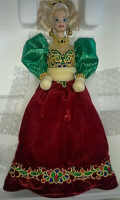 1995 Holiday Jewel Barbie Porcelain Doll New with COA & Box