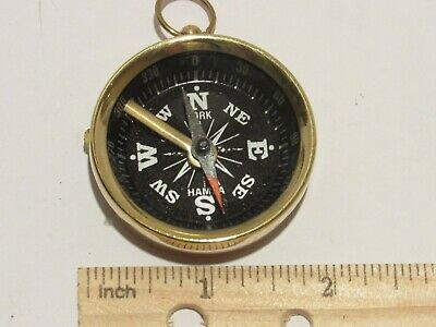 Brass Pocket Compass -BLACK Magnetic-Nautical Camping Hiking w/Position lock