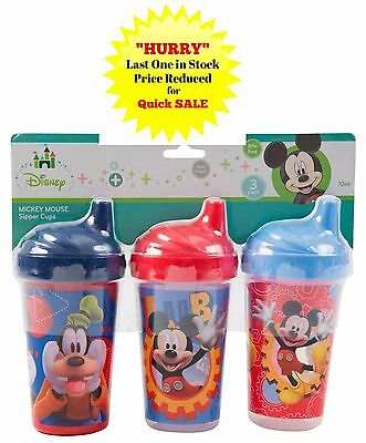 """Mickey Mouse 3 Pack SIPPY CUPS 10oz  BPA Free Spill Proof """"NEW"""""""