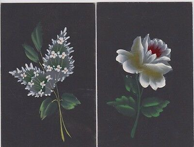 Postcards pair of hand painted flowers black background by unknown producer