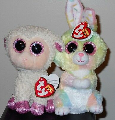 """Ty Beanie Boos Easter 6"""" Set ~ BUBBY (Bunny Rabbit) & TWINKLE (Lamb) ~ 2017 NEW"""
