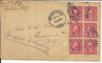 US 4th Bureau - 2c BOOKLET PANE Sc#554c Stockton,Cal AUG/2/192