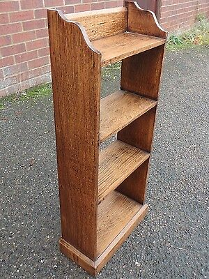Victorian antique Arts & Crafts solid oak dwarf library 4 shelf open bookcase