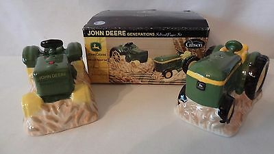 John Deere Three Tractors and One Hay Wagon Salt and Pepper Shakers #H913