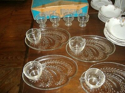 Pressed Glass Luncheon Set Snack Master Vintage Plates Cups Glasses