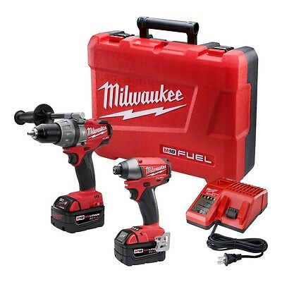MILWAUKEE-2797-22 M18 Fuel Hammer Drill & Impact Kit w/ 2 Batteries & Charger !!