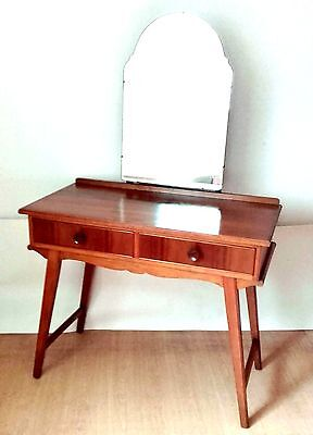 Vintage Teak Dressing Table With Large Mirror Mid Century Retro C.1950s 1960s