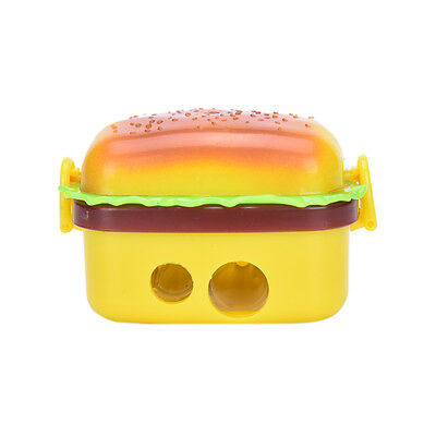 Stationery Hamburger Pencil Sharpener with Two Rubbers Eraser Student Kids LAUS