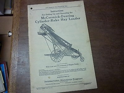 McCORMICL -DEERING CYLINDER RAKE HAY LOADER INSTRUCTIONS  SETTING UP OPERATING