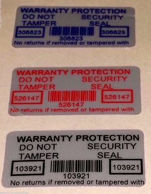100 - WARRANTY PROTECTION VOID SECURITY LABELS WITH SERIAL #s 30mmX15mm 3 COLORS