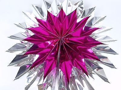 """Foil Fold Out Honeycomb Starburst Star Pink & Silver Christmas Holiday 14.5"""""""