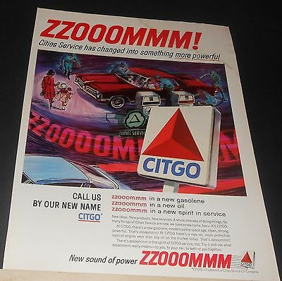 1965 Citgo gas/oil Cities Service Station new name ZZOOOMMM print Advert