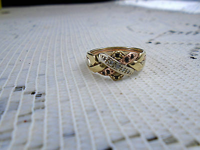 10k Tri Color Gold 4 Band Puzzle Ring Rose White Yellow Diamond Sapphire S 7.25