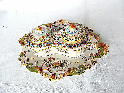 INKWELL CERAMIC 2 inkwell REMOVABLE DECORATION FLOWERWORK 20 x 1 CM ROUEN