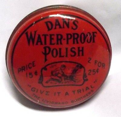 Vintage Dan`s Water-Proof Shoe Polish Tin, Full