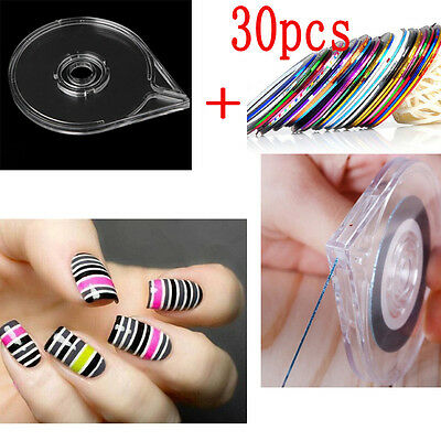 New 30Pcs Mixed Colors Rolls Striping Tape Line DIY Nail Art Sticker Tool Case