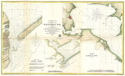 1857 Coastal Survey Map Nautical Chart of Matagorda Bay and Lavaca Bay Texas