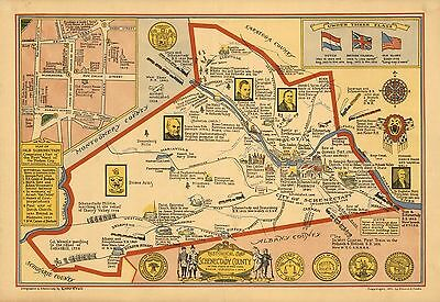 1931 historical map Schenectady County in the State of New York POSTER 8468000