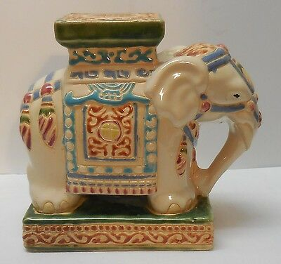 Elephant with Carriage Top Plant Stand Mini Garden Stool Decor Figurine
