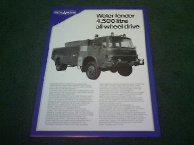 1980s HCB ANGUS BEDFORD AWD WATER TENDER FIRE ENGINE UK SINGLE SHEET - BROCHURE