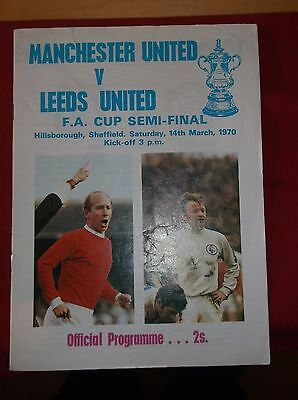 Fa Cup Semi Final  Manchester United V Leeds United  1970 All 3 Programmes