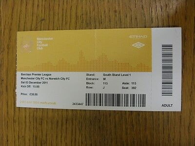 03/12/2011 Ticket: Manchester City v Norwich City  (Folded, Yellow Ticket). Than