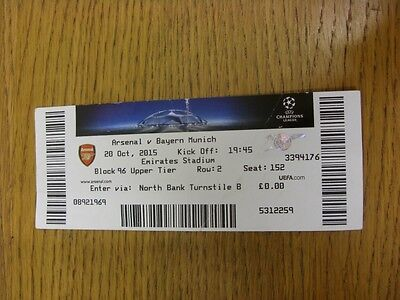 20/10/2015 Ticket: Arsenal v Bayern Munich [Champions League] (folded, creased).