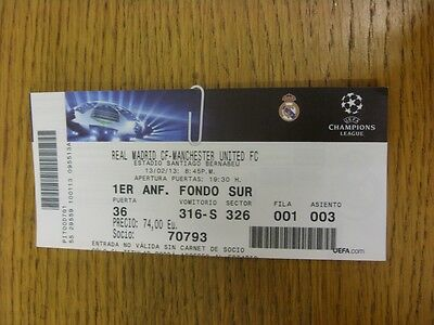 13/02/2013 Ticket: Real Madrid v Manchester United [Champions League] (light fol