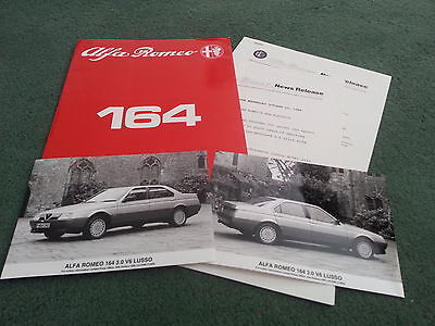October 1988 1989 Alfa Romeo 164 3.0 - UK PRESS PACK RELEASE + PHOTOS - BROCHURE