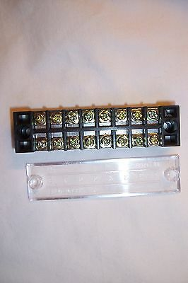 (119)  G,o,ho,n, +++ 15A 600V  8 Position Dual Row Terminal Block With Cover