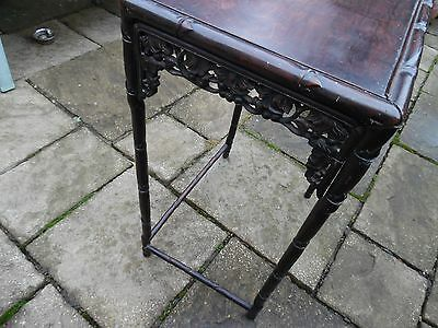 Antique Carved  Chinese Hardwood Table Lau Tun Kee Canton