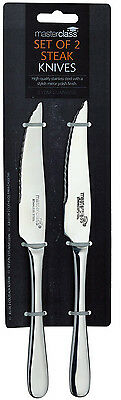 6 Master Class 22cm Polished Stainless Steel Serrated Table Steak Knives / Knife
