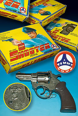 Alter Timmy Metall Spielzeug Revolver 8 Shooter Ovp Box 1991 Amorces Cobra Style