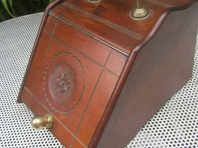 Old Antique Victorian Aesthetic Solid Walnut Wood Fireside Log Box made England