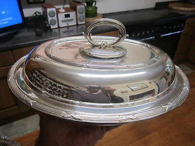 Old Antique Victorian Silver Plate Dining Serving Tureen and Lid English c1895
