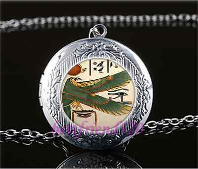 Ancient Egyptian Photo Cabochon Glass Tibet Silver Locket Pendant Necklace