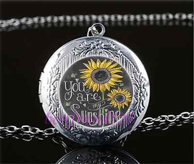 You Are My Sunshine Cabochon Glass Tibet Silver Locket Pendant Necklace