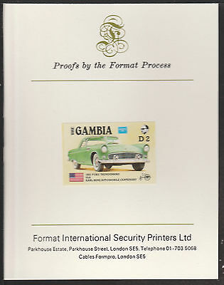 Gambia (536a) 1987 Ameripex THUNDERBIRD imperf Format International PROOF  CARD