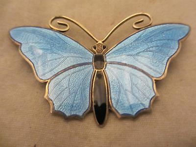 Norwegian Sterling Silver & Enamel Butterfly Brooch Pin, Askel Holmsen TBJ01173