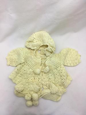 Vintage Hand Crocheted Baby Sweater, Bonnet & Booties Light Yellow Infant