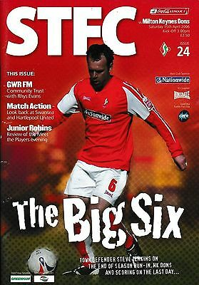 Football Programme SWINDON TOWN v MK DONS Apr 2006