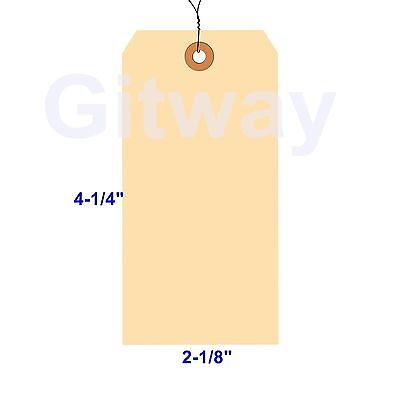 "1000- 4 1/4"" x 2 1/8"" Size 4 Manila Inventory Shipping Hang Tags with Wire 13 Pt"