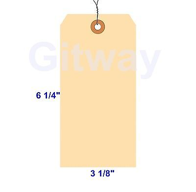 "1000 of 6 1/4"" x  3 1/8"" Size 8 Manilla Shipping Hang Tag Tags with Wire 13 Pt"