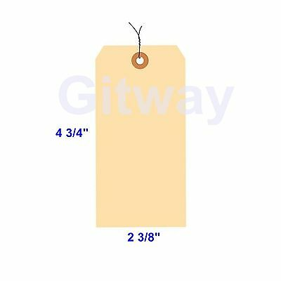 """1000 of 4 3/4"""" x 2 3/8"""" Size 5 Manilla Shipping Hang Tag Tags with Wire 13 Pt"""